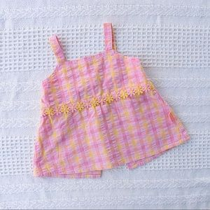 Vintage PUMPKIN PATCH pink yellow check cotton top